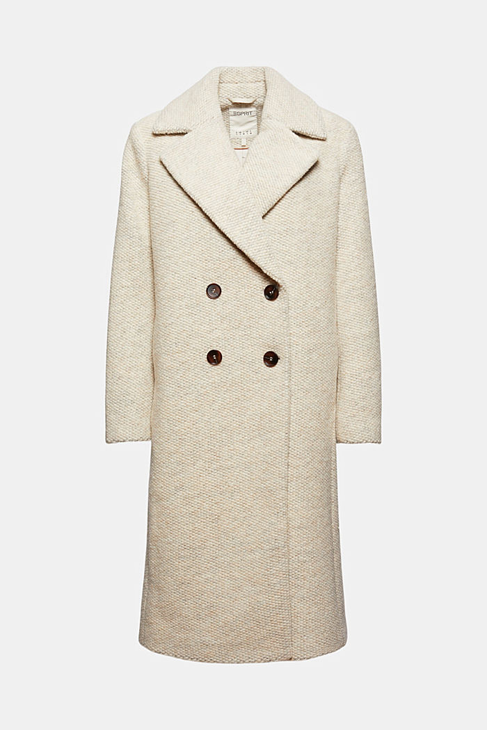 Wool blend: coat with a wide lapel collar