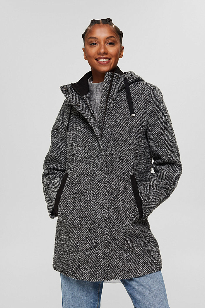À teneur en laine recyclée: le manteau à chevrons à capuche, ANTHRACITE, detail image number 0
