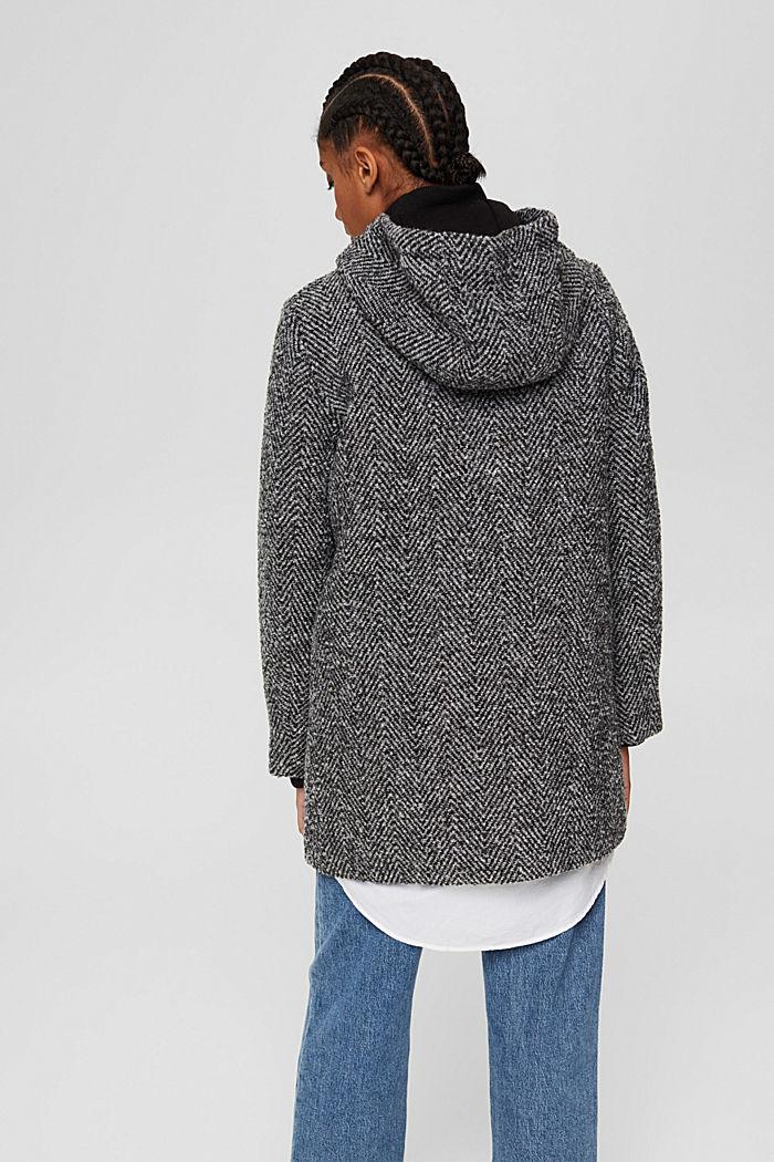 À teneur en laine recyclée: le manteau à chevrons à capuche, ANTHRACITE, detail image number 3