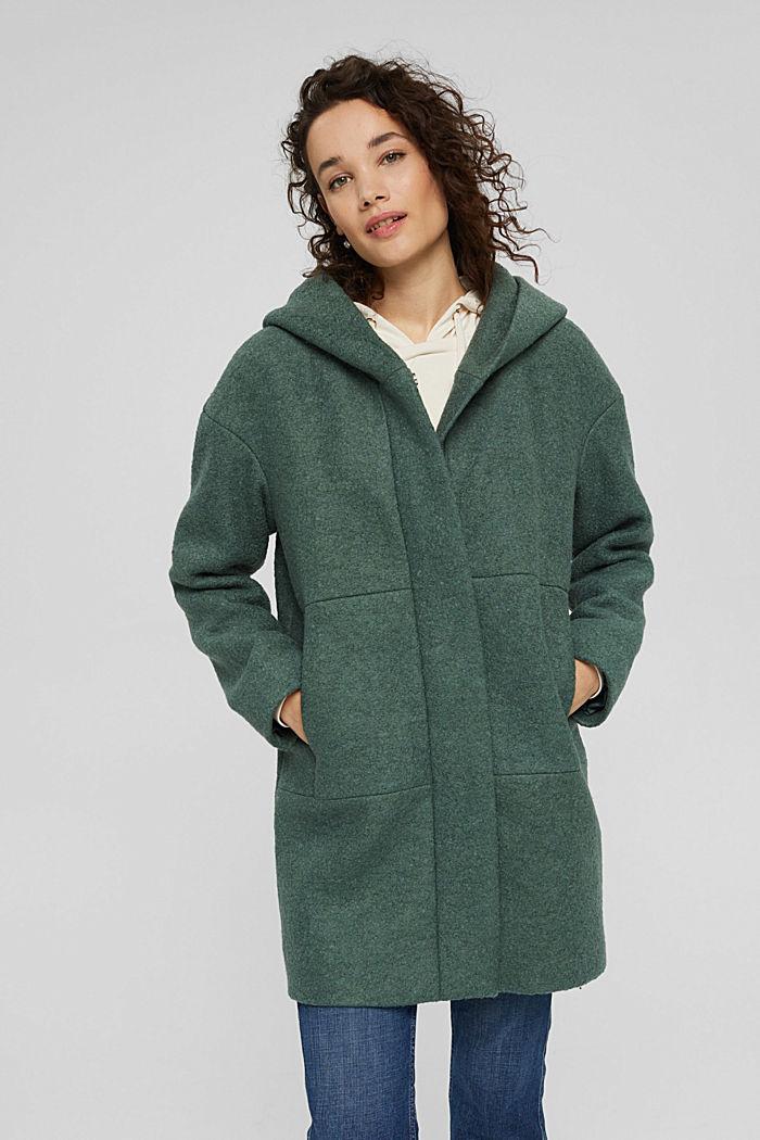 en laine mélangée foulée : le manteau à capuche