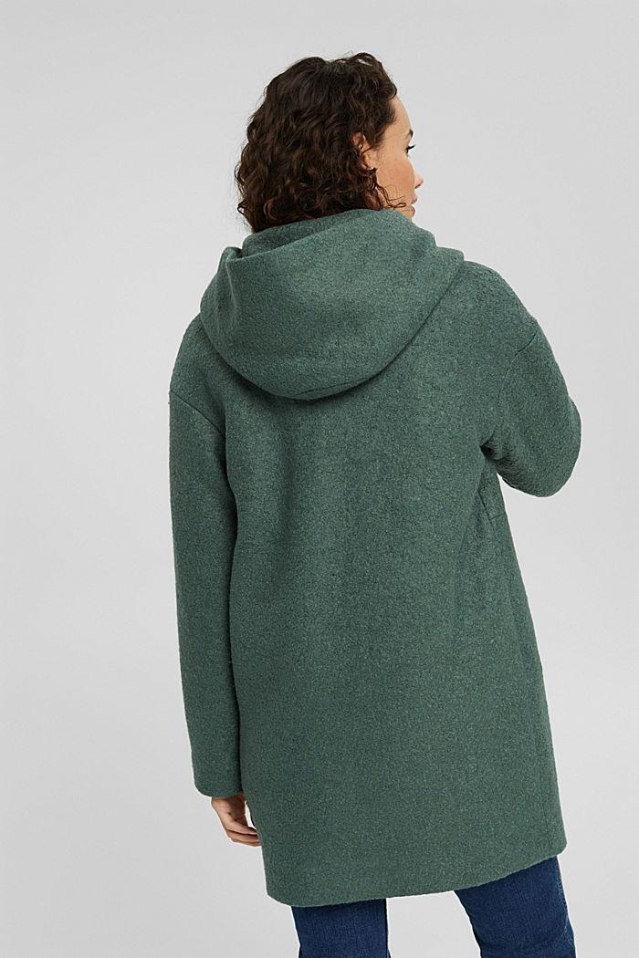 Aus gewalktem Woll-Mix: Mantel mit Kapuze, TEAL BLUE, detail image number 3