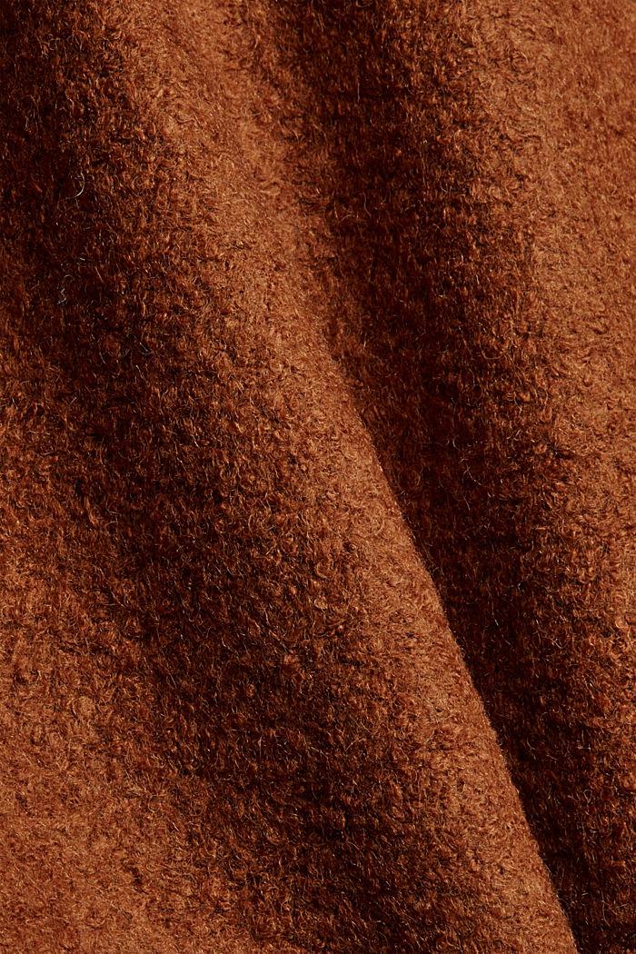 Aus gewalktem Woll-Mix: Mantel mit Kapuze, TOFFEE, detail image number 4