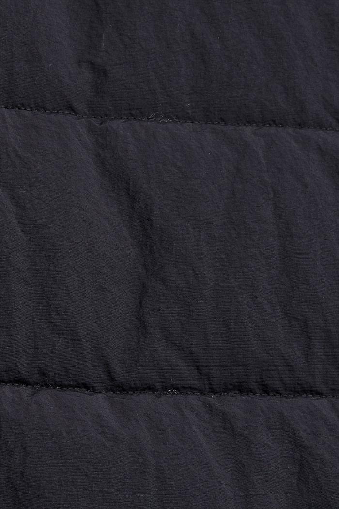 Recycelt: lange Steppweste mi Crincle-Struktur, BLACK, detail image number 4