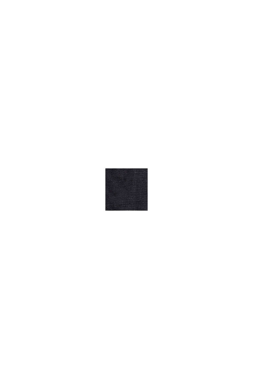 Återvunnet material: lång quiltad väst med krinklad struktur, BLACK, swatch
