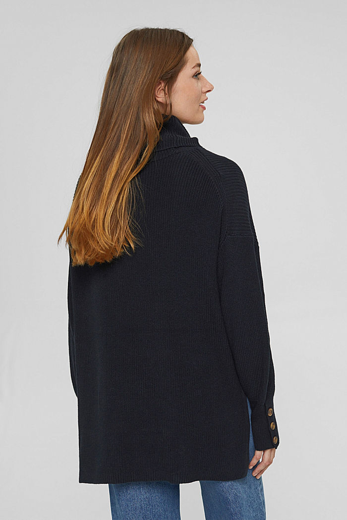 Organic cotton/cashmere: Polo neck jumper, BLACK, detail image number 3