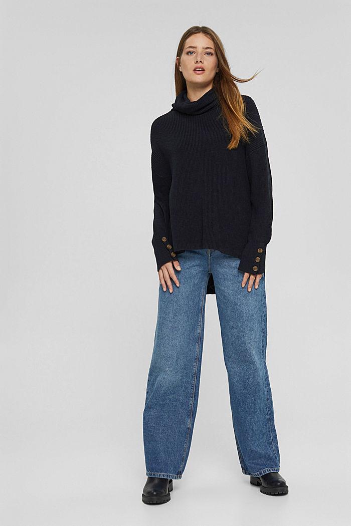 Organic cotton/cashmere: Polo neck jumper, BLACK, detail image number 1