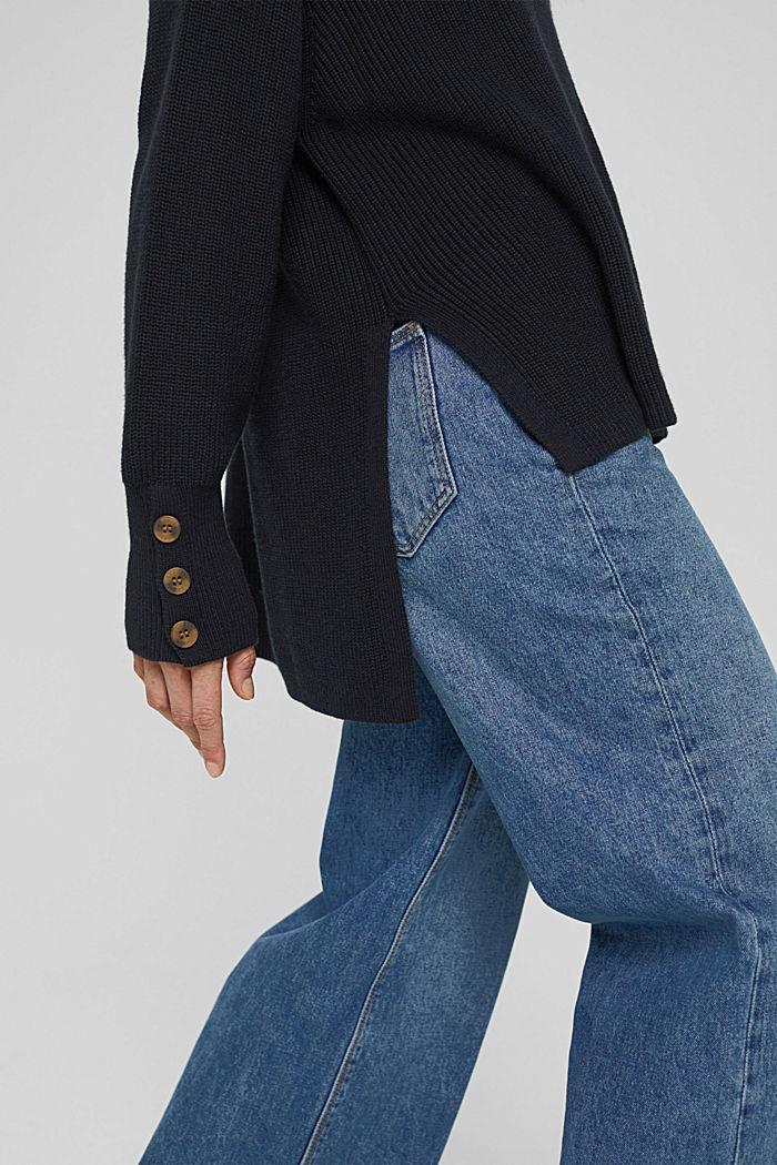 Organic cotton/cashmere: Polo neck jumper, BLACK, detail image number 2