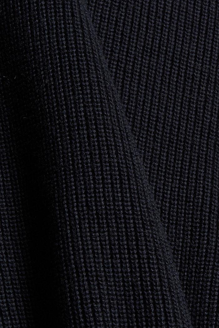 Organic cotton/cashmere: Polo neck jumper, BLACK, detail image number 4