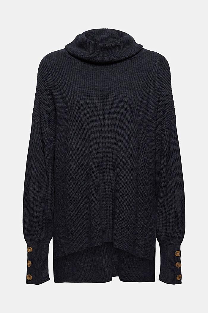 Organic cotton/cashmere: Polo neck jumper, BLACK, detail image number 6