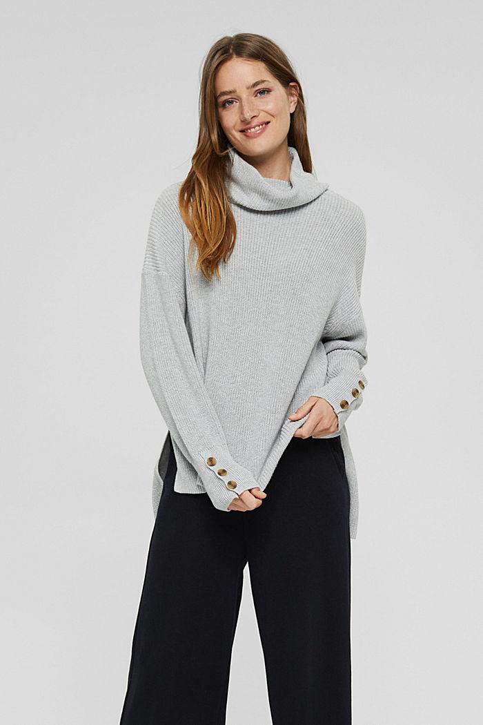 Organic Cotton/Kaschmir: Rollkragen-Pullover, LIGHT GREY, detail image number 0