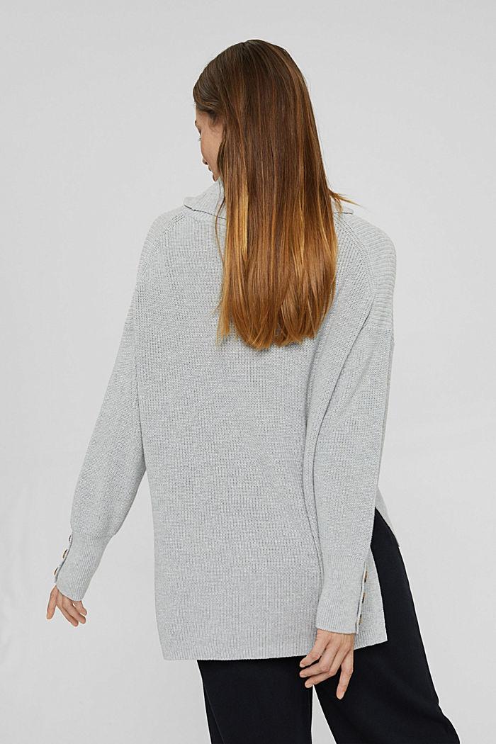 Organic Cotton/Kaschmir: Rollkragen-Pullover, LIGHT GREY, detail image number 3
