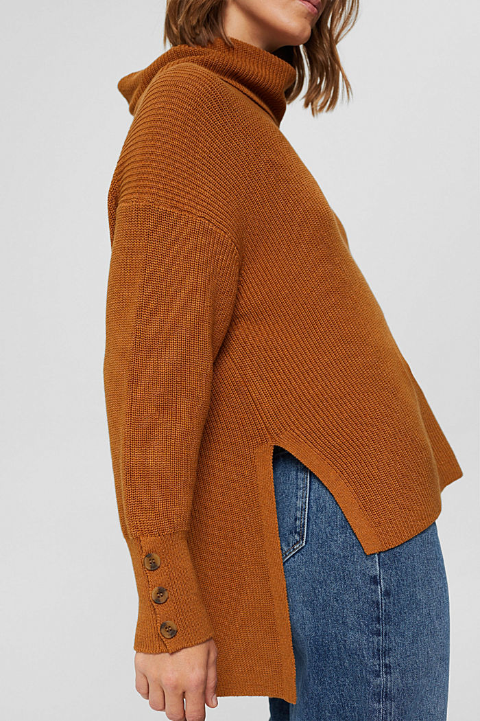 Organic Cotton/Kaschmir: Rollkragen-Pullover, CAMEL, detail image number 5