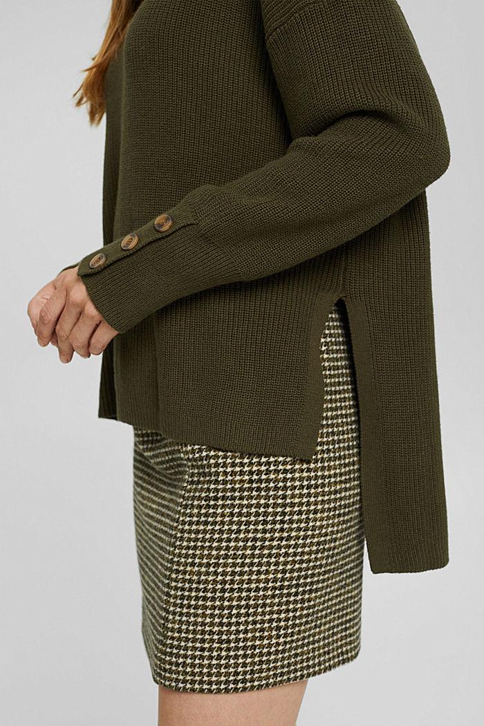 Coton biologique et cachemire: le pull-over à col roulé, DARK KHAKI, detail image number 2