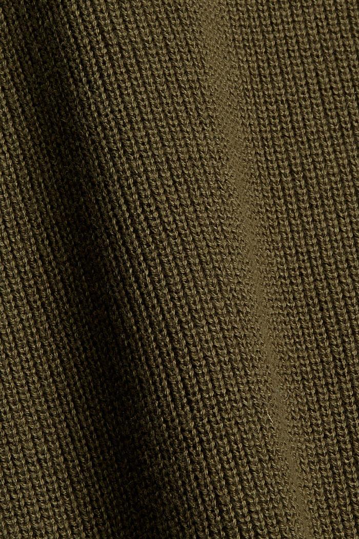 Coton biologique et cachemire: le pull-over à col roulé, DARK KHAKI, detail image number 4