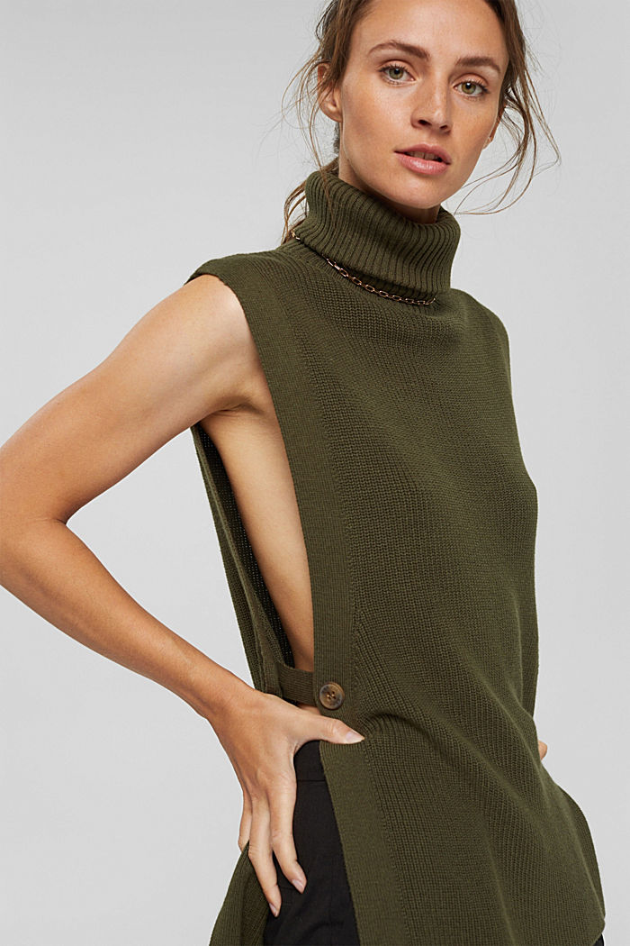 Rib knit sleeveless jumper in fabric blend containing cashmere, DARK KHAKI, detail image number 5