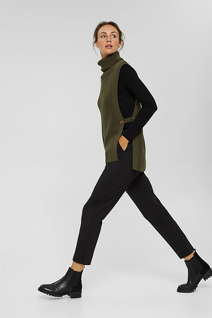 Rib knit sleeveless jumper in fabric blend containing cashmere, DARK KHAKI, detail image number 1