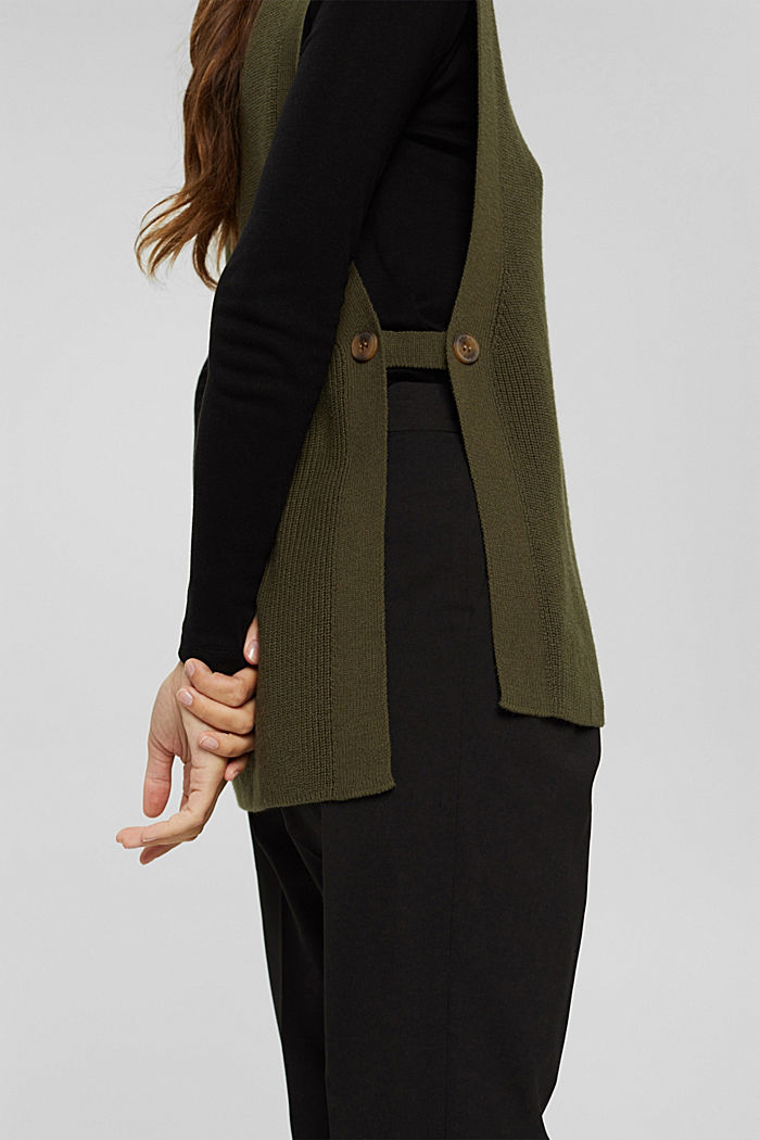 Rib knit sleeveless jumper in fabric blend containing cashmere, DARK KHAKI, detail image number 2