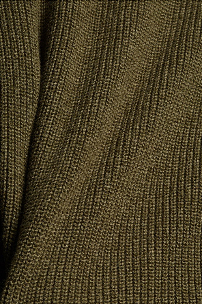 Rib knit sleeveless jumper in fabric blend containing cashmere, DARK KHAKI, detail image number 4