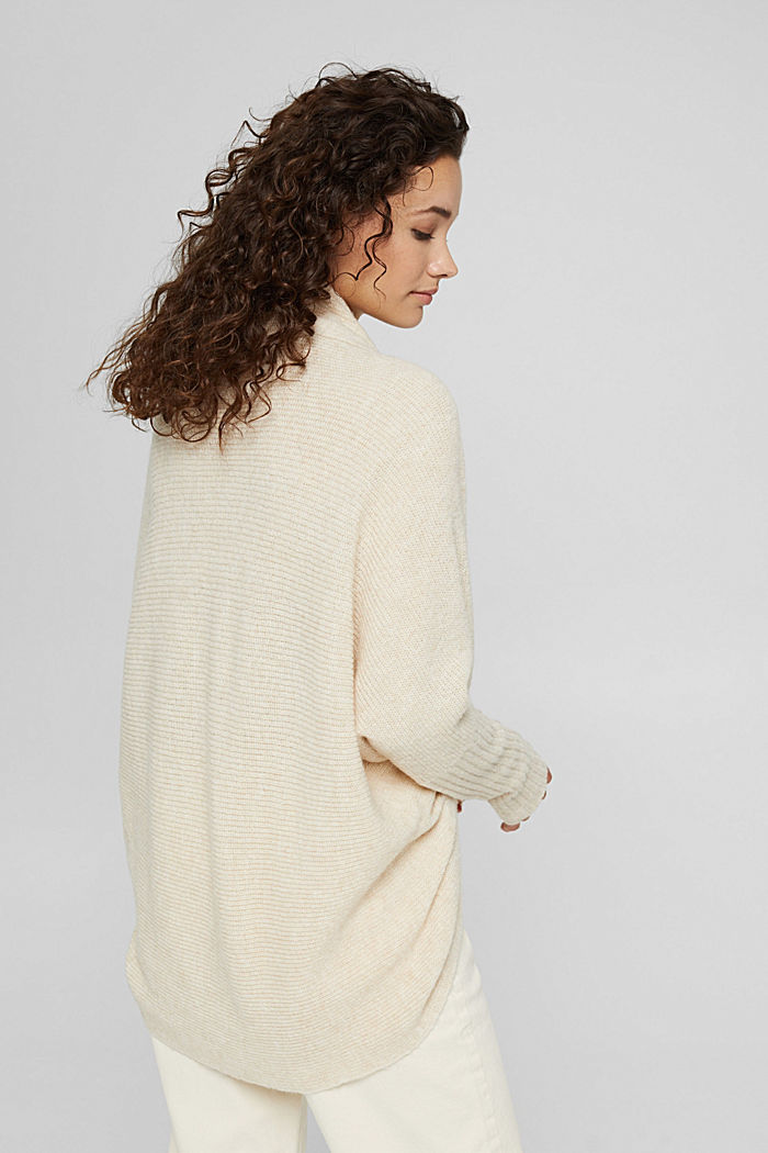 Con lana: cárdigan estilo capa, SAND, detail image number 3