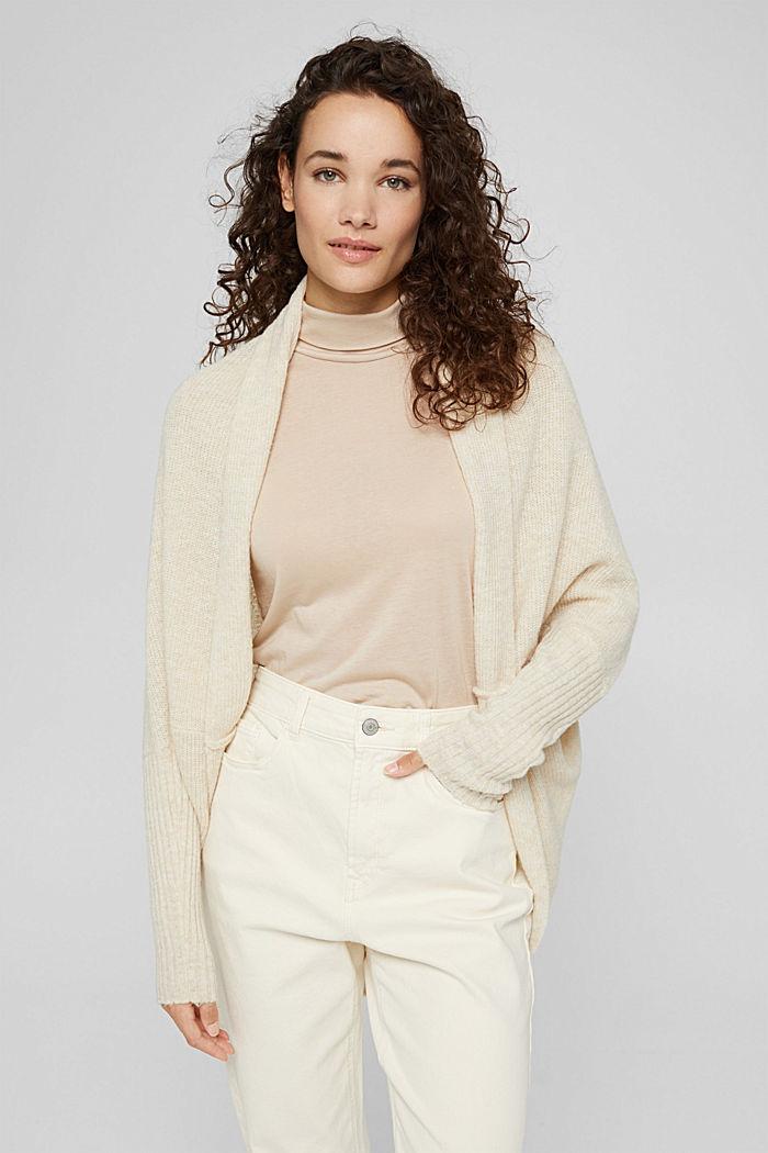 Con lana: cárdigan estilo capa, SAND, detail image number 5