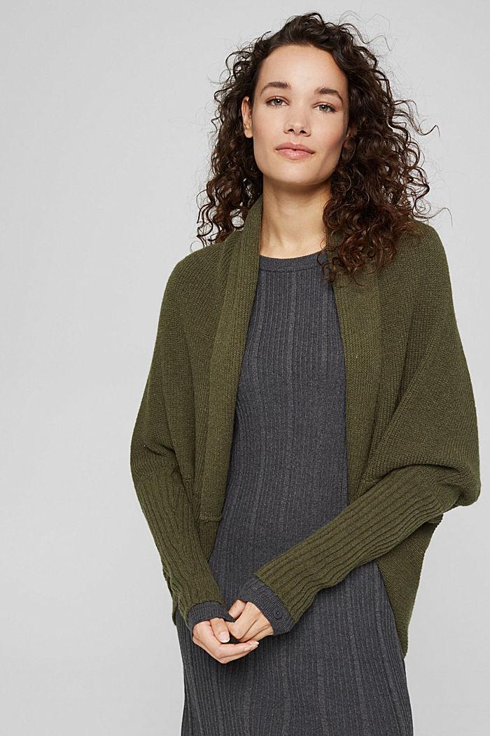 Con lana: cárdigan estilo capa, DARK KHAKI, detail image number 0