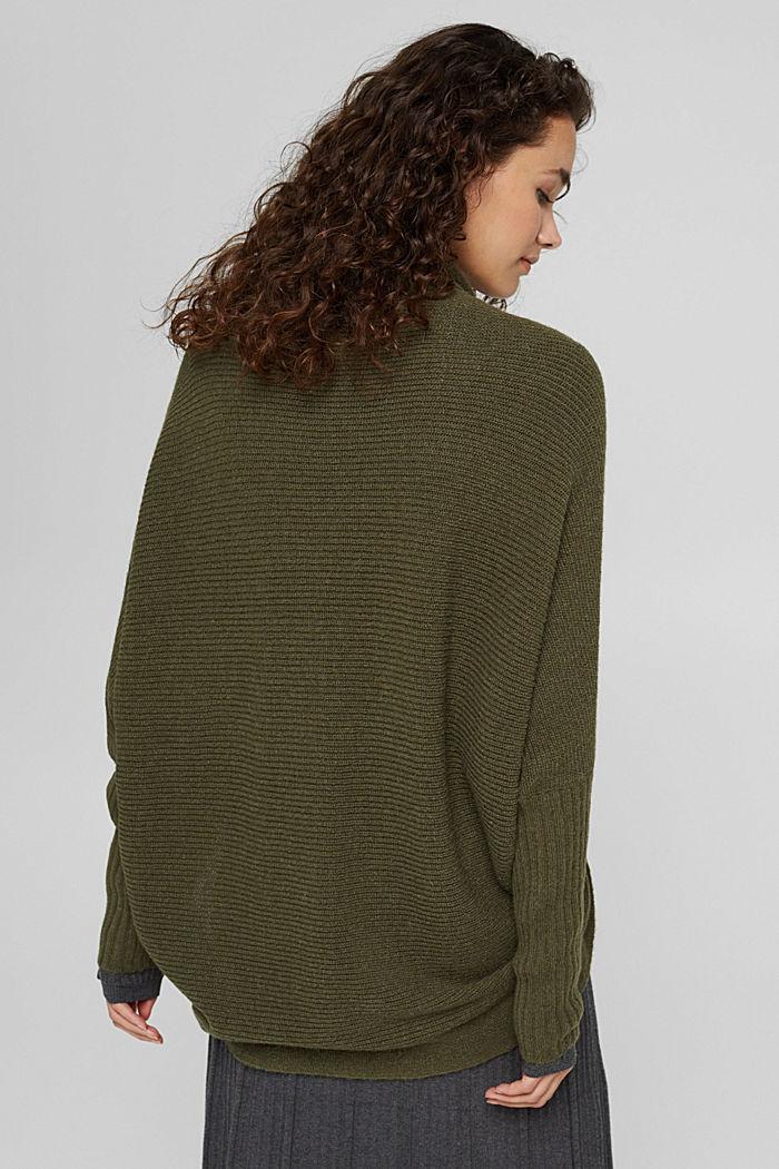 Con lana: cárdigan estilo capa, DARK KHAKI, detail image number 3