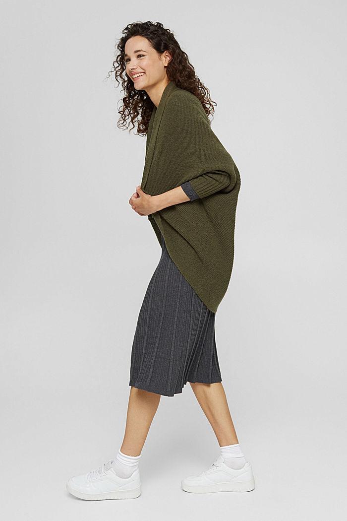 Con lana: cárdigan estilo capa, DARK KHAKI, detail image number 1