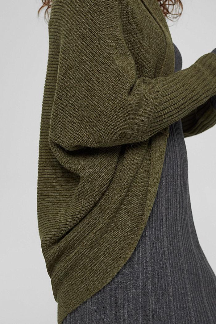 Con lana: cárdigan estilo capa, DARK KHAKI, detail image number 2