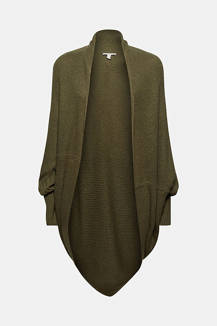 Con lana: cárdigan estilo capa, DARK KHAKI, detail image number 8