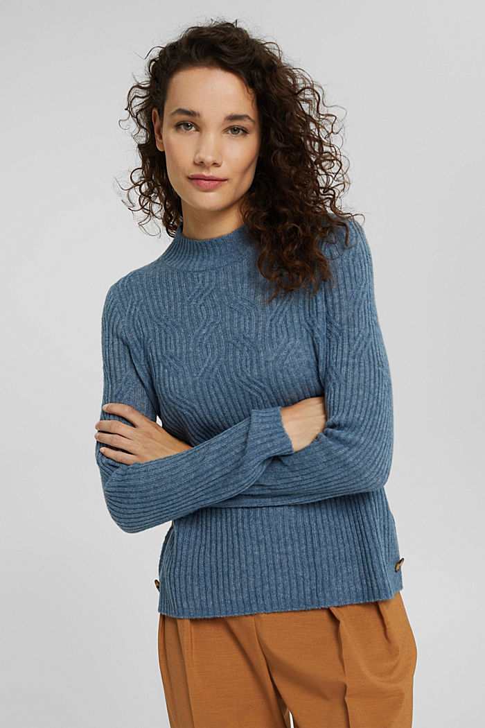 Mit Wolle: Pullover mit Zopfmuster, GREY BLUE, detail image number 0