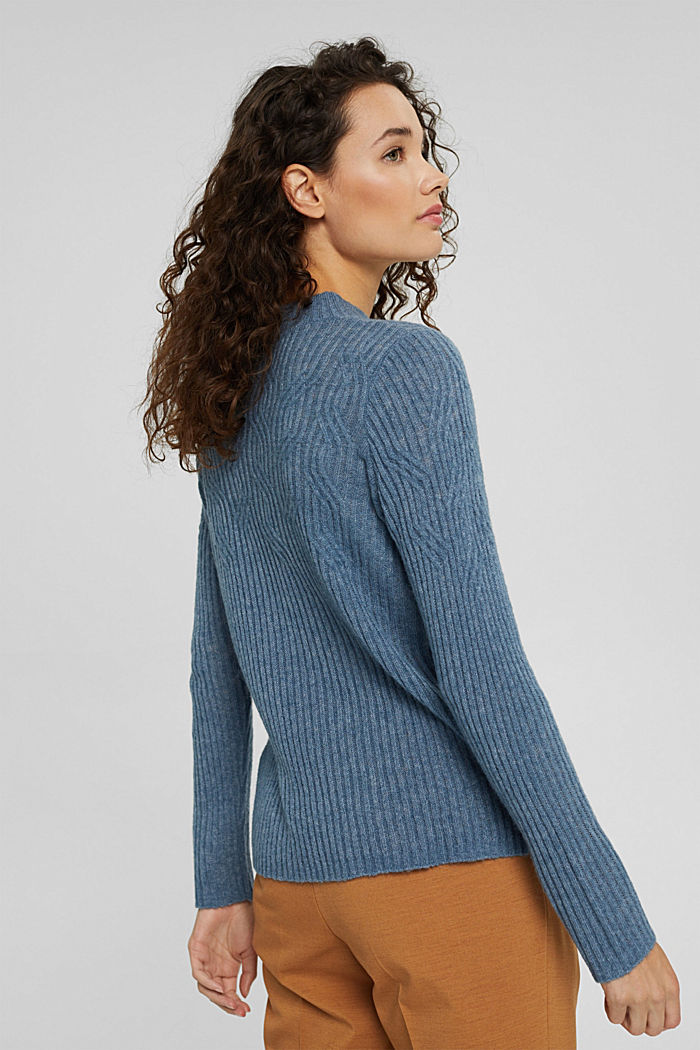 Mit Wolle: Pullover mit Zopfmuster, GREY BLUE, detail image number 3