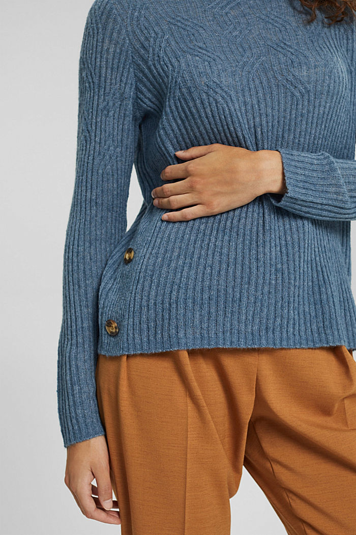 Mit Wolle: Pullover mit Zopfmuster, GREY BLUE, detail image number 2