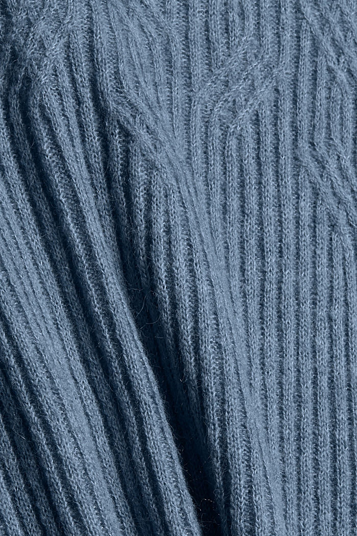 Mit Wolle: Pullover mit Zopfmuster, GREY BLUE, detail image number 4