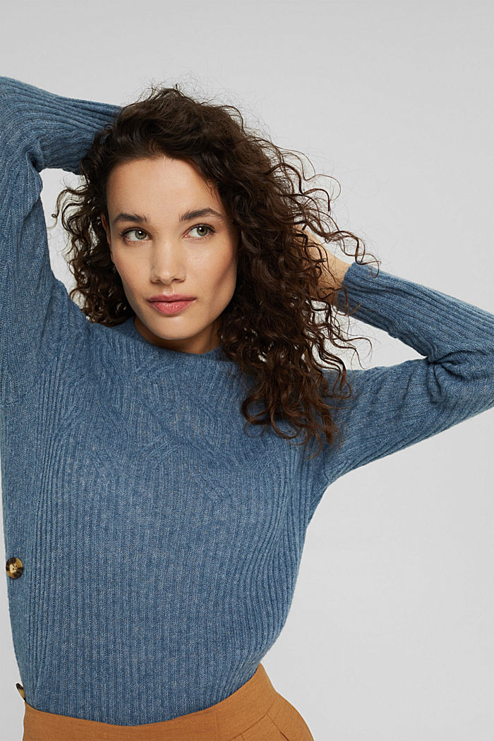 Mit Wolle: Pullover mit Zopfmuster, GREY BLUE, detail image number 5