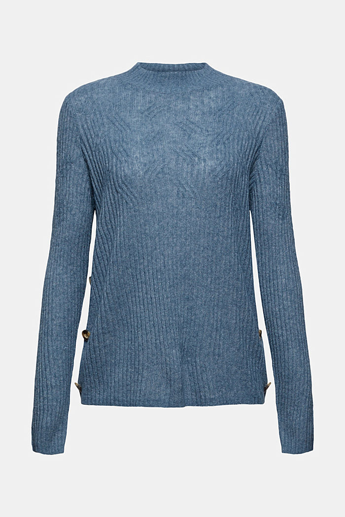 Mit Wolle: Pullover mit Zopfmuster, GREY BLUE, detail image number 6