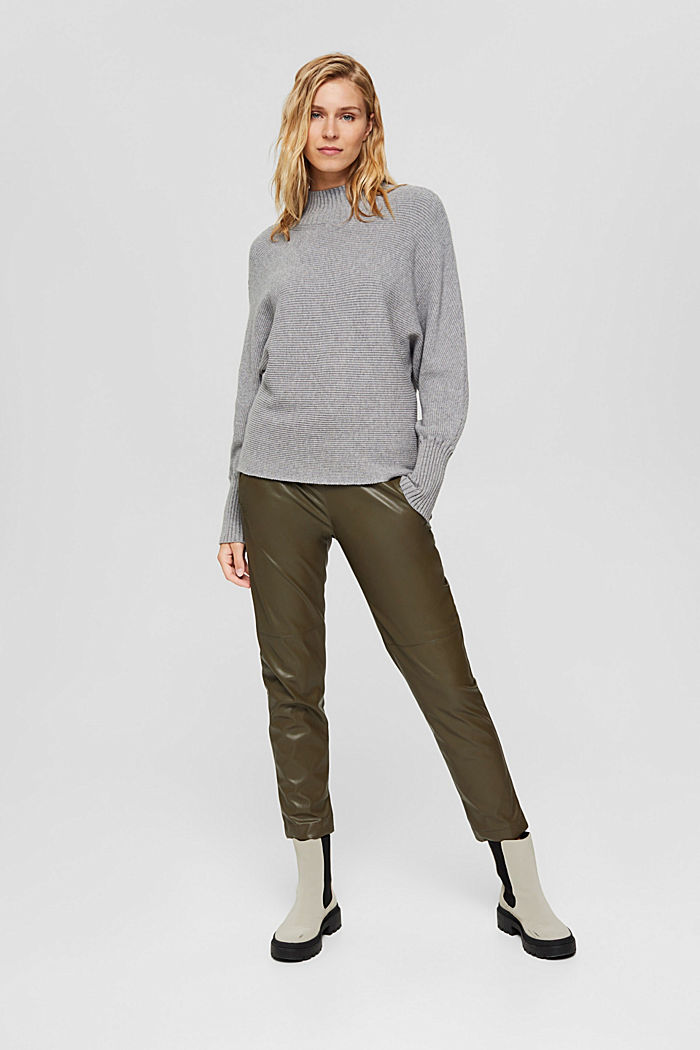 Rib knit top with LENZING™ ECOVERO™, MEDIUM GREY, detail image number 6