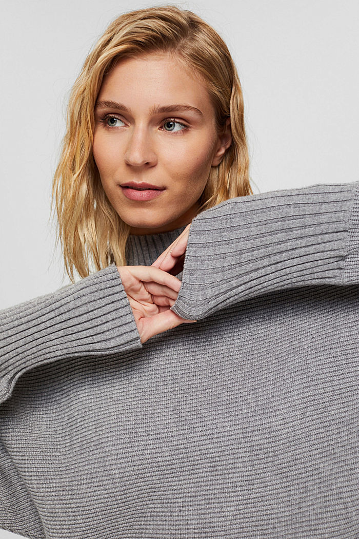 Rib knit top with LENZING™ ECOVERO™, MEDIUM GREY, detail image number 5