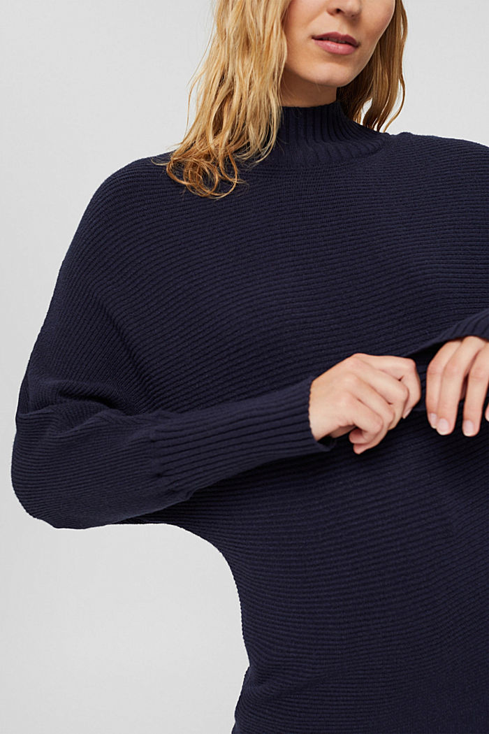 Rippstrickpullover mit LENZING™ ECOVERO™, NAVY, detail image number 2
