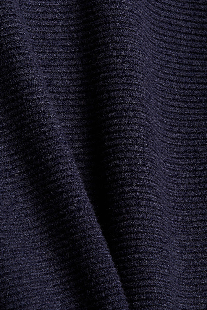 Rippstrickpullover mit LENZING™ ECOVERO™, NAVY, detail image number 4