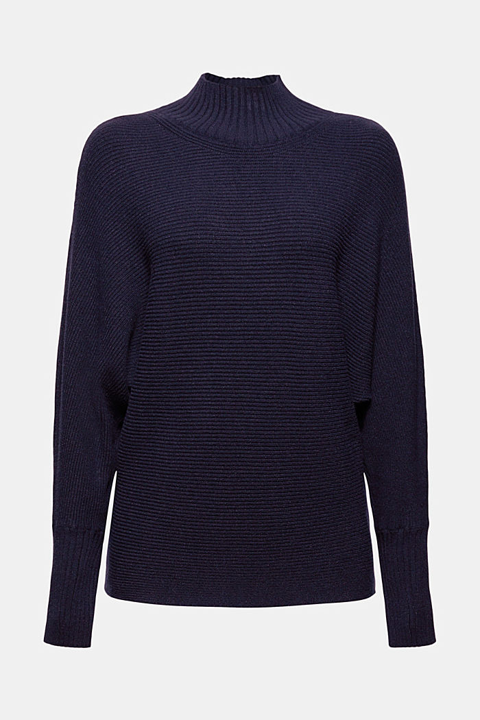 Rippstrickpullover mit LENZING™ ECOVERO™, NAVY, detail image number 8