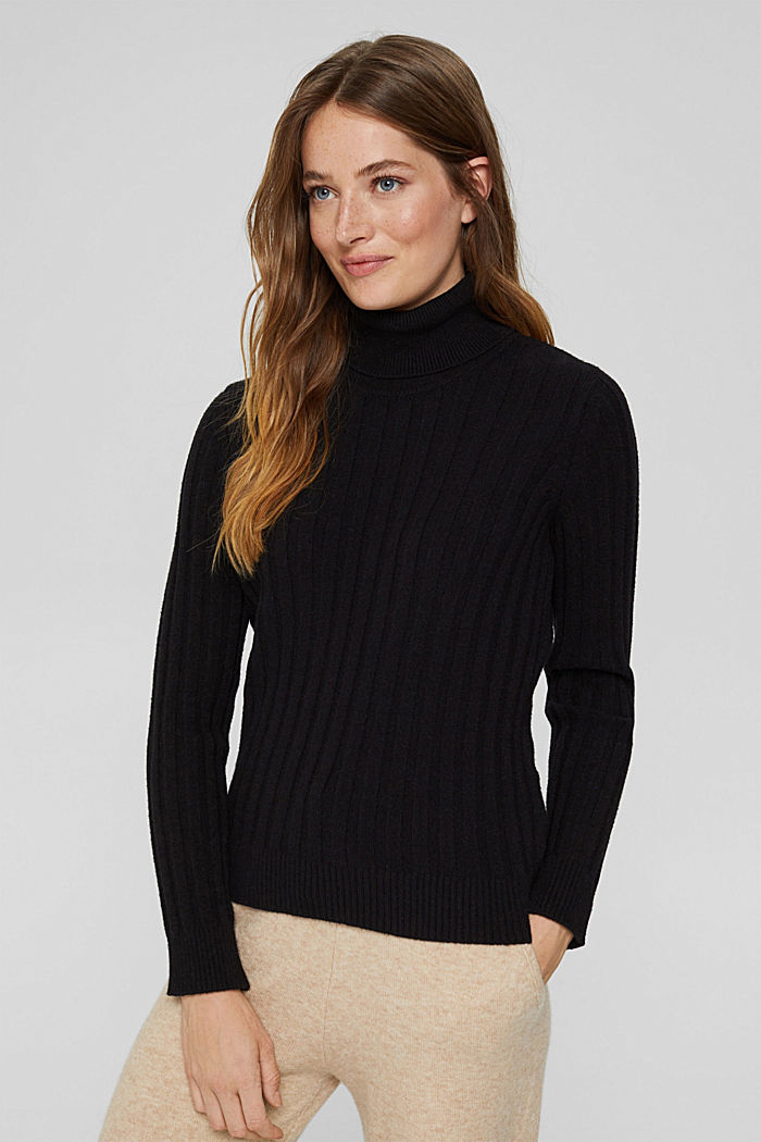Polo neck jumper with LENZING™ ECOVERO™, BLACK, detail image number 0