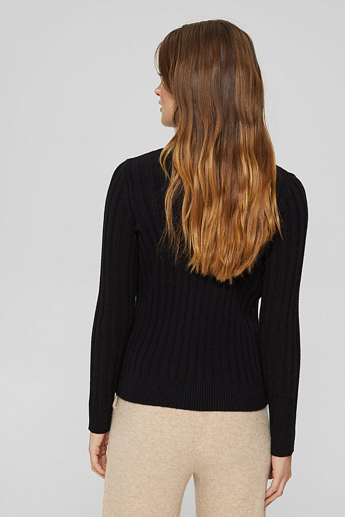Polo neck jumper with LENZING™ ECOVERO™, BLACK, detail image number 3