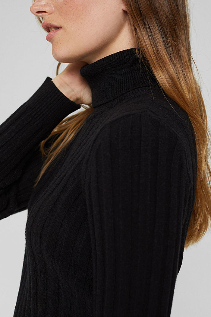 Polo neck jumper with LENZING™ ECOVERO™, BLACK, detail image number 2