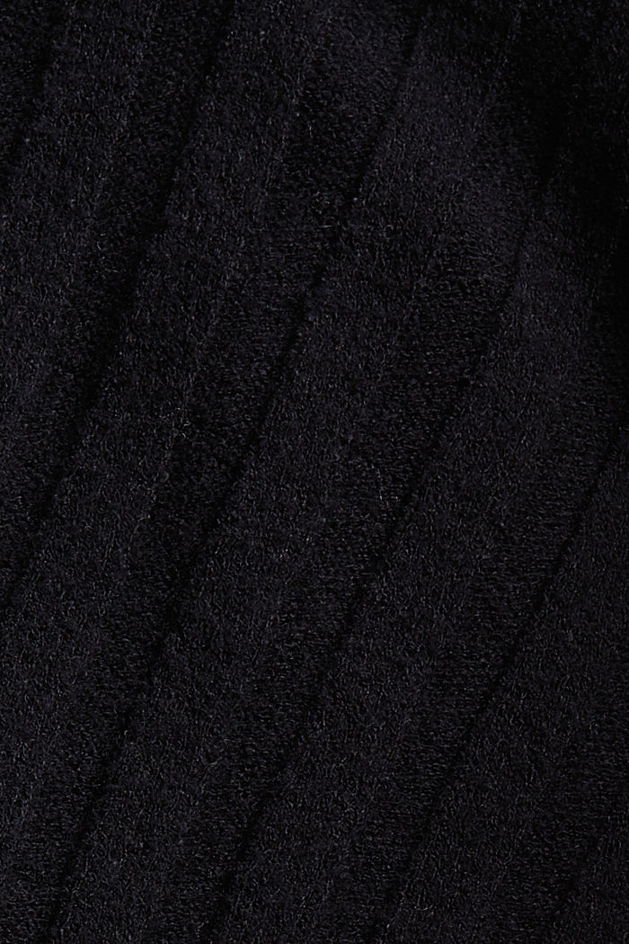 Polo neck jumper with LENZING™ ECOVERO™, BLACK, detail image number 4
