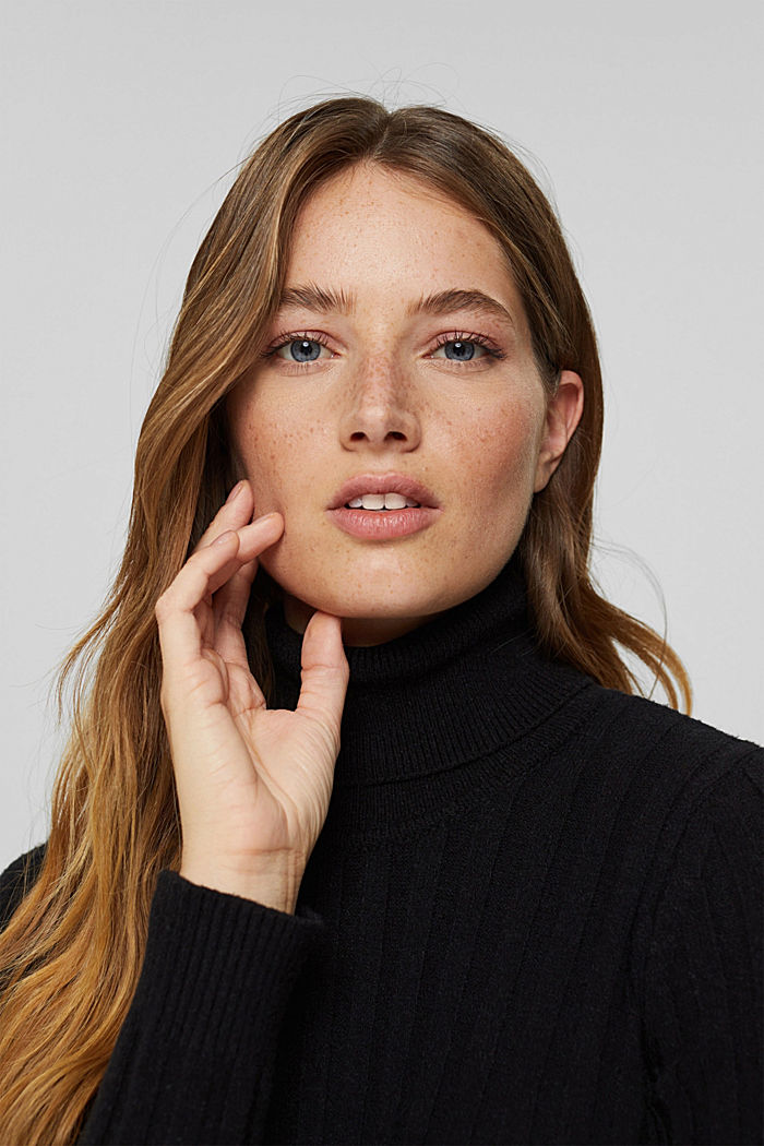 Polo neck jumper with LENZING™ ECOVERO™, BLACK, detail image number 5