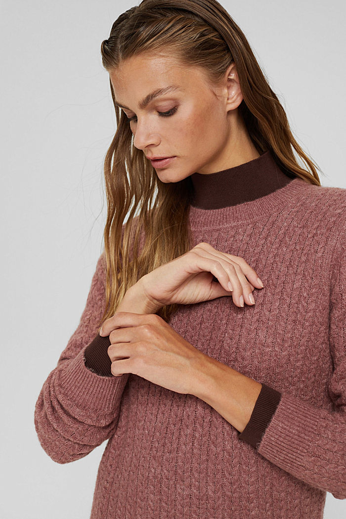 Con lana: pullover con motivo a treccia