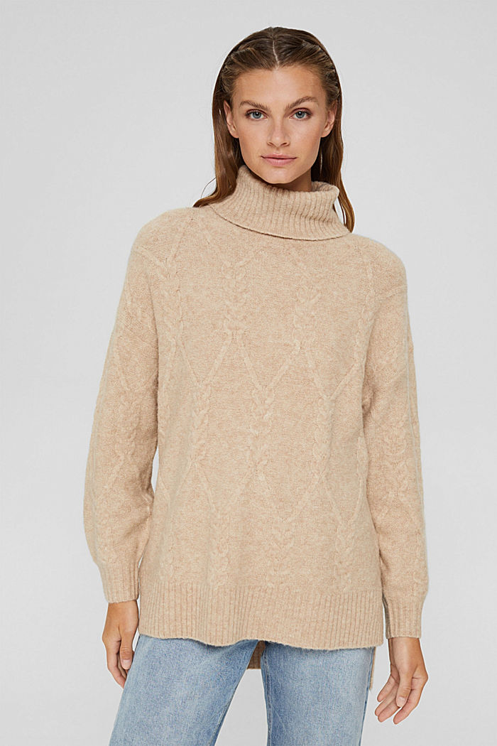 Wool blend: polo neck jumper in cable knit fabric