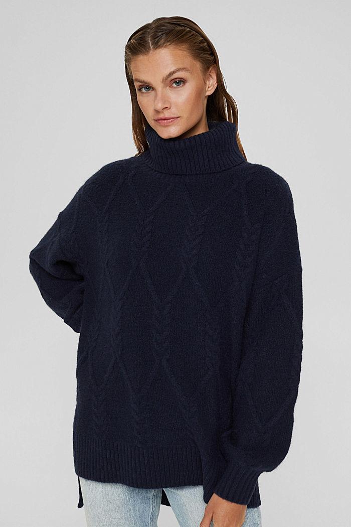 Mit Wolle: Rollkragenpullover aus Zopstrick, NAVY, detail image number 0