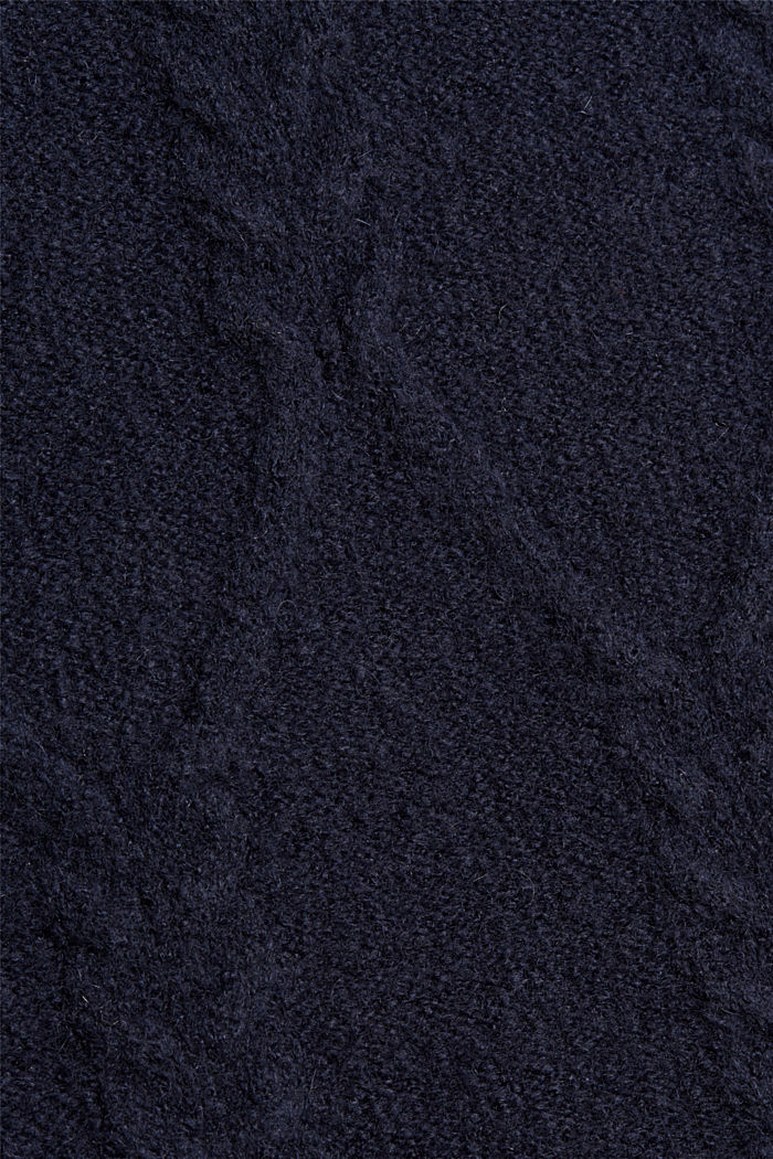 Mit Wolle: Rollkragenpullover aus Zopstrick, NAVY, detail image number 4