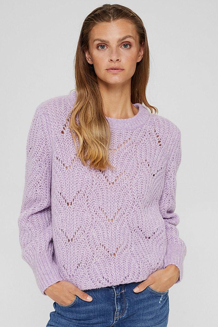 Mit Wolle und Alpaka: Pointelle-Pullover, LILAC, detail image number 0
